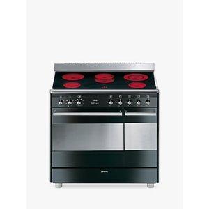 Smeg Suk92cbl9 Double Electric Range Cooker With Ceramic Hob, A Energy Rating, Gloss Black