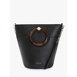 Ted Baker Aniie Leather Circle Hobo Bag Womens Accessories, Black
