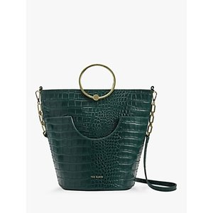 Ted Baker Ashher Leather Bucket Bag Womens Accessories, Dark Green