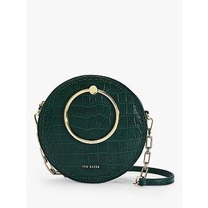 Ted Baker Astorii Leather Croc Print Circular Cross Body Bag Womens Accessories, Dark Green