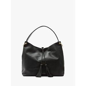 Ted Baker Demmi Leather Tassel Hobo Bag Womens Accessories, Black
