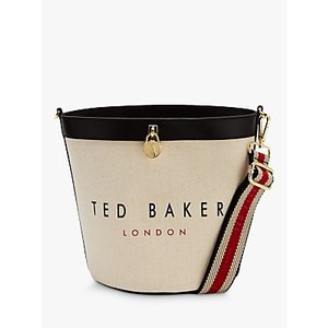 Ted Baker Jettia Canvas Leather Bucket Bag, Black/natural Womens Accessories