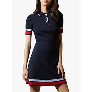 Ted Baker Yniaa Stripe Detailed Mini Dress, Navy