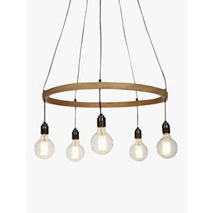 Tom Raffield Kern Hoop Pendant Ceiling Light, 5 Light, Wood, 60cm