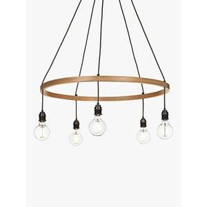 Tom Raffield Kern Hoop Pendant Ceiling Light, 5 Light, Wood, 80cm