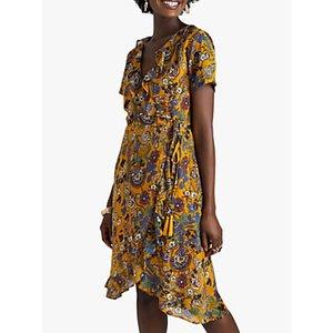 Yumi Abstract Floral Wrap Dress, Mustard