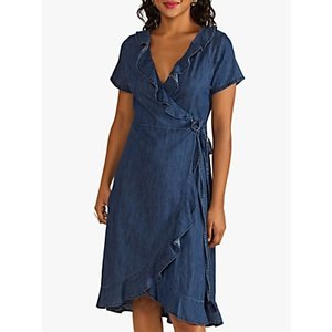 Yumi Denim Wrap Dress, Blue