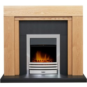 Adam Beaumont Oak & Black Fireplace With Downlights & Eclipse Electric Fire In Chrome 48 I 23358