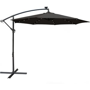 Airwave 3m Banana Hanging Parasol With Solar Led Spotlights (base Not Included) - Black Ex20037