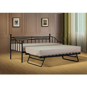 Alicia Budget Metal Day Bed Without Trundle Black Single No Mattress Entry Level Bargain  5057289854720