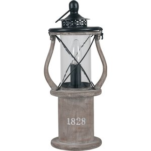 Antique Wood Lantern Table Lamp 30 545 C