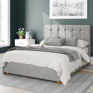Aspire Hepburn Ottoman Bed Velvet Light Silver Super King Mfp107029
