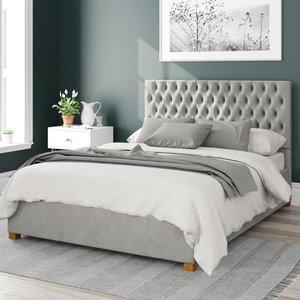 Aspire Monroe Upholstered Ottoman Bed Velvet Light Silver King Mfp107128