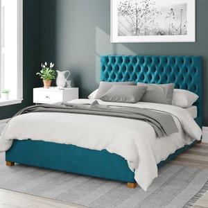 Aspire Monroe Upholstered Ottoman Bed Velvet Teal Super King Mfp104886