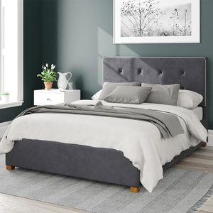 Aspire Presley Ottoman Bed Velvet Steel Small Double Mfp104383