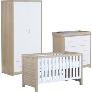 Babymore Luno White Oak Effect 3 Piece Set Cot Bed Chest Changer And Wardrobe 26lwrs3