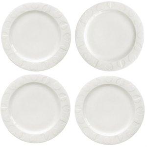Beau & Elliot Embossed Dinner Plate Set Of 4 - White