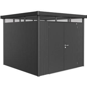 Biohort Highline Metal Shed H4 Double Door 9 X 9 - Dark Grey 84059
