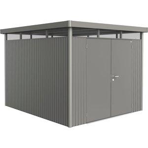 Biohort Highline Metal Shed H5 Double Door 9 X 10 - Quartz Grey 88069