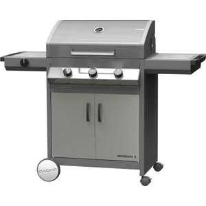 Cadac Meridian 3 Burner S/s Gas Bbq Plus Baking Stone And Reversible Grill Plate 98510 01 01