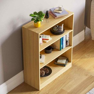 Cambridge 3 Tier Low Bookcase Oak Effect 333612