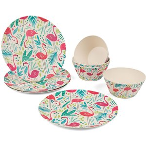 Cambridge Flamingo Bamboo Eco-friendly Tableware Set - 8 Piece