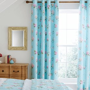 Catherine Lansfield Embroidered Floral Eyelet Curtains Bd/43236/w/e667