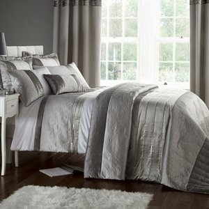 Catherine Lansfield Gatsby Double Bed Set - Silver  5012601423145