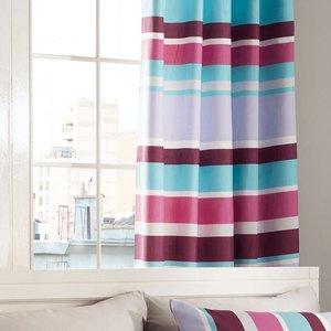 Catherine Lansfield Modern Textured Stripe Eyelet Curtains - Multi  5012601518001