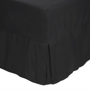 Catherine Lansfield Non-iron Fitted Valance Single Sheet - Black  5055184861782