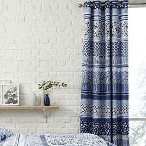 Catherine Lansfield Santorini Eyelet Curtains - Blue  5012601517851
