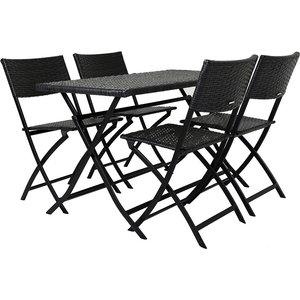Charles Bentley Amalfi 4-seater Folding Rattan Dining Set - Grey 5014555092149