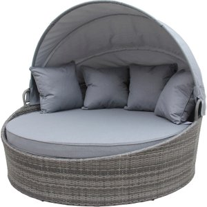 Charles Bentley Large Rattan Day Bed With Sun Canopy - Grey  5014555095690