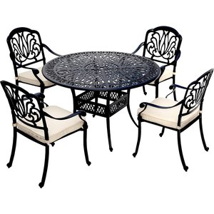 Charles Bentley Ornate Metal 5-piece Dining Set With Cushions Gl/gf/cast.07 5014555072974