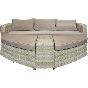 Charles Bentley Roma Multifunction Rattan Day Bed - Beige  5014555097090