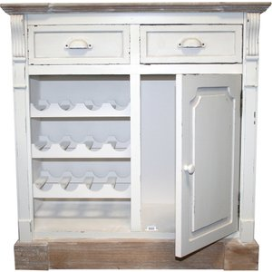 Charles Bentley Shabby Chic Vintage French Style Cabinet Sideboard With Wine Rack - White Hm/sc/sb.02 5014555035832