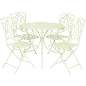 Charles Bentley Wrought Iron 4-seater Dining Set - Pastel Green Glwiset04g 5014555084588