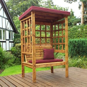 Charles Taylor Bramham Two Seat Arbour With Burgundy Roof Cover And Cushions Hb135b Set