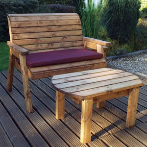 Charles Taylor Deluxe Bench Set With Burgundy Cushions Hb123b
