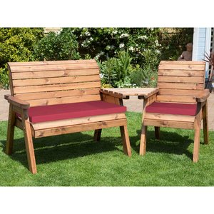 Charles Taylor Three Seat Companion Set Angled With Burgundy Cushions And Fitted Cover Hb03b