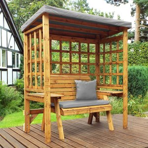 Charles Taylor Wentworth Two Seat Arbour With Grey Cushions Hb144gr Set