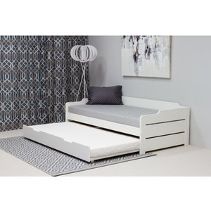 Copella White Guest Bed With Trundle And Memory Foam Mattresses Cogbw+noah