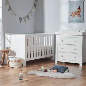 Cuddleco Aylesbury 2pc Set 3 Drawer Dresser And Changer And Cot Bed White Frn/cud/847938