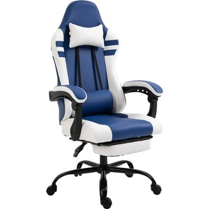Equinox Duel Pu Leather Gaming Chair With Adjustable Cushions & Footrest - Blue/white 921 278v70bu