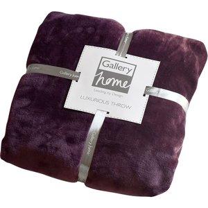 Gallery Flannel Fleece Throw 140 X 180cm - Plum  5055999216920