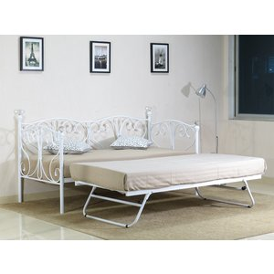 Geovana Small Single Day Bed With Trundle - White  5057289855352
