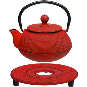 Hahn 5five Dotty Relief Red Cast Iron Teapot With Infuser And Stand - 60cl