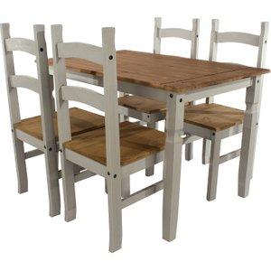 Halea Large Rectangular Dining Table & 4 Chairs - Grey  5017839021064