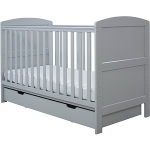 Ickle Bubba Coleby Classic Cot Bed Under Drawer And Sprung Mattress Grey 44 001 C3s 802
