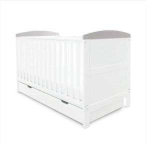 Ickle Bubba Coleby Classic Cot Bed Under Drawer And Sprung Mattress White With Grey Trim 44 001 C3s 810